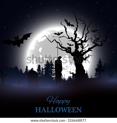 Happy Halloween poster. Background with spooky graveyard, naked tree, graves, bats and hanged man silhouette. - stock vector