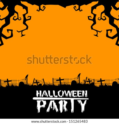 Happy Halloween poster, banner or banner with dead tree in night background.  - stock vector