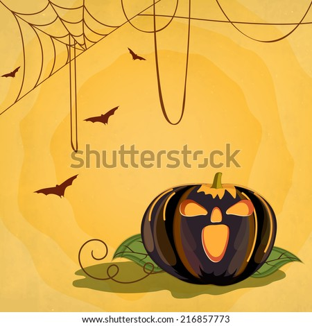 Happy Halloween poster, banner or flyer design with scary pumpkin on spider web yellow background for Trick or Treat party celebrations.  - stock vector
