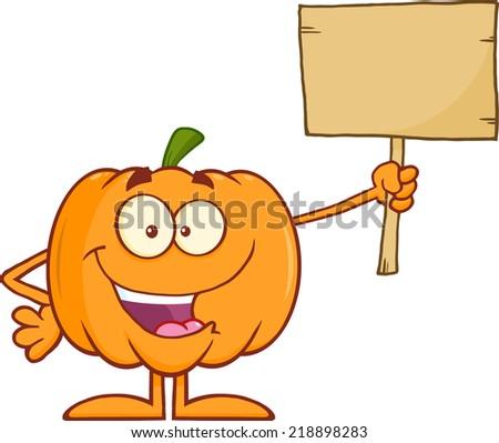 Happy Halloween Pumpkin Cartoon Mascot Character Holding A Wooden Board - stock vector