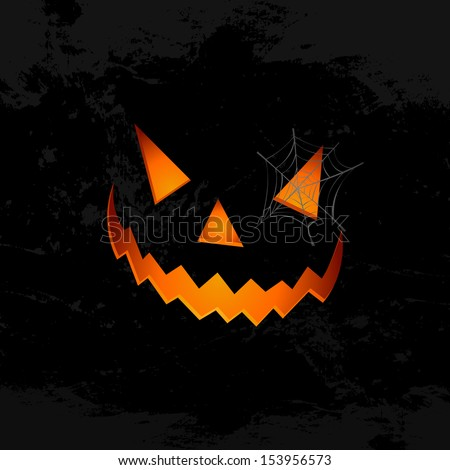 Happy Halloween pumpkin face lantern with spider web holiday icon illustration.  EPS10 vector file organized in layers for easy editing. - stock vector