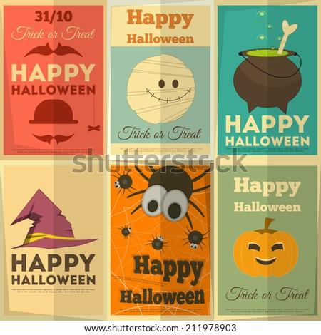 Happy Halloween Retro Cards Set. Vector Illustration. - stock vector