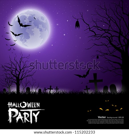 Happy Halloween scary on purple background, vector illustration - stock vector