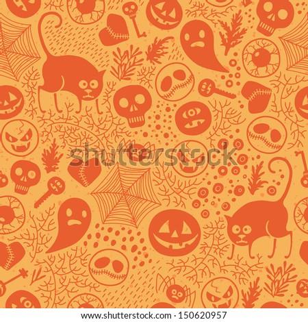 Happy Halloween! Seamless pattern with pumpkins, skulls, cats, spiders ... Vector illustration. - stock vector