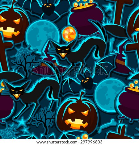 Happy Halloween seamless pattern with stickers characters and objects. - stock vector