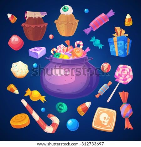 Happy halloween. Set of colorful halloween sweets and candies icons - stock vector