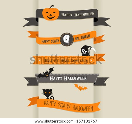 Happy Halloween - set of ribbons and icons - stock vector