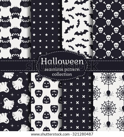 Happy Halloween! Set of seamless patterns with traditional holiday symbols: skulls, bats, pumpkins, ghosts, owls, spiders and web. Vector collection of backgrounds in black and white colors.  - stock vector