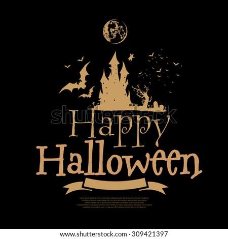 Happy Halloween silhouette design on black background, vector illustration - stock vector