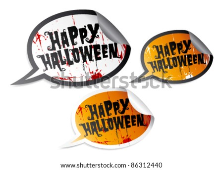 Happy Halloween stickers in form of speech bubbles - stock vector