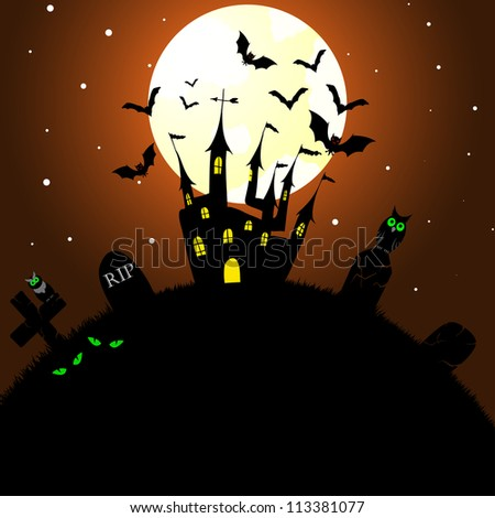 Happy halloween theme greeting card. Vector illustration. - stock vector
