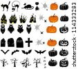 Happy Halloween theme icon set. Vector illustration. - stock vector