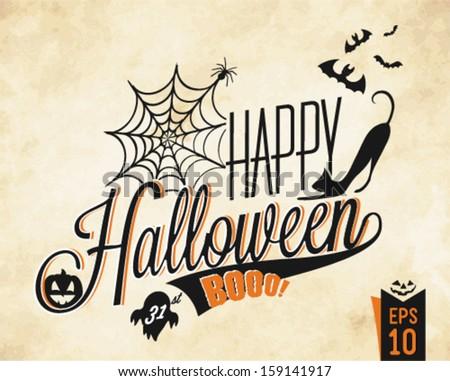 Happy Halloween Vector Background in Vintage Style - stock vector