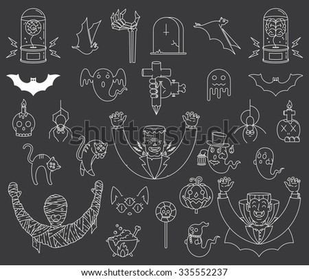 Happy Halloween vector badges and signs for any use - stock vector