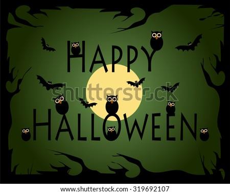 Happy Halloween Vector illustration with owls - stock vector