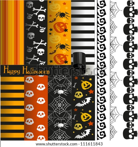 Happy Halloween vector paper and lace for scrapbook - stock vector