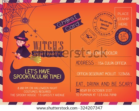 Happy Halloween Vintage Postcard invitation background design layout - stock vector