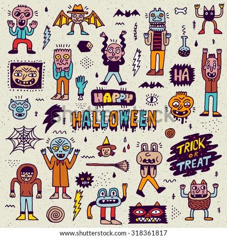 Happy Halloween. Wacky Cartoon Doodle Set. Vector Hand Drawn Color Illustration Pattern. - stock vector