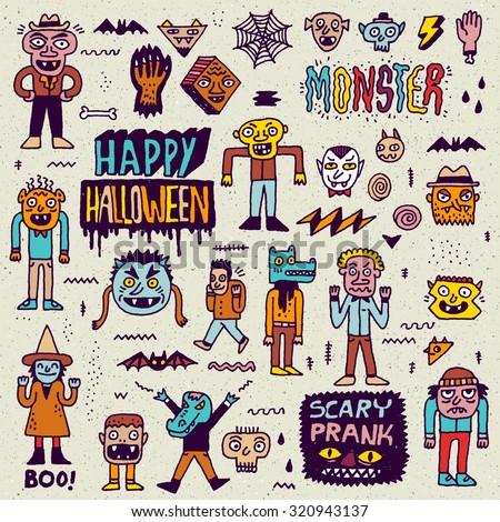Happy Halloween. Wacky Cartoon Doodle Set 2. Vector Hand Drawn Color Illustration Pattern. - stock vector