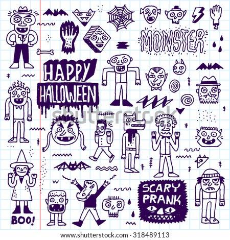 Happy Halloween. Wacky Cartoon Doodle Set 2. Vector Hand Drawn Illustration. School Notebook Pattern. - stock vector
