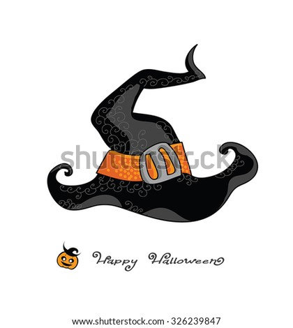 Happy Halloween - Witch hat vector illustration, retro cartoon, with hand drawing cute greetings and jack-o-lantern icon. Halloween hand drawn card. On white. Vector Eps 8. - stock vector