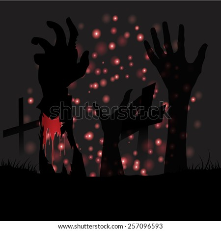 Happy Halloween with crucifix and hand ghost background vector.illustration - stock vector