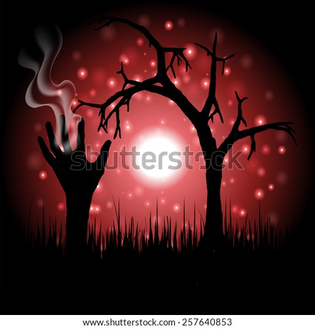 Happy Halloween with hand ghost and tree background vector.illustration - stock vector