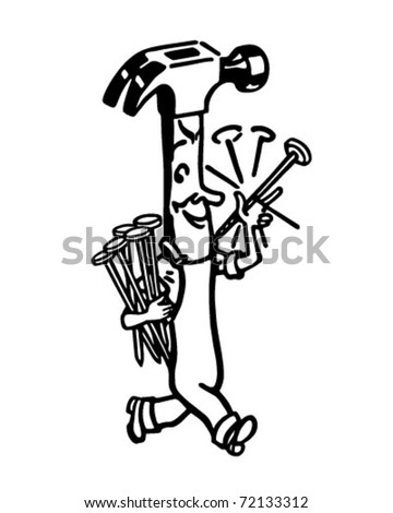 Happy Hammer - Retro Ad Art Illustration - stock vector