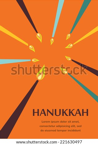 Happy Hanukkah greeting card design, jewish holiday.  Vector illustration - stock vector