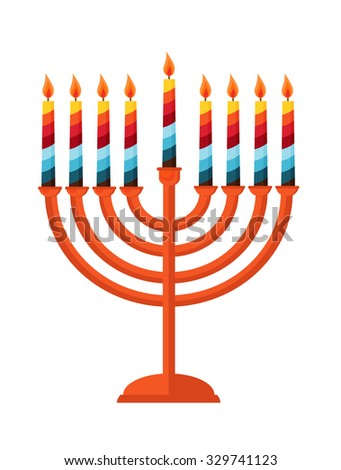 happy Hanukkah, Jewish holiday. Hanukkah menorah isolated on white - stock vector