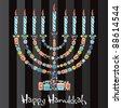 Happy Hanukkah menorah made of cute jewish cookies - stock vector