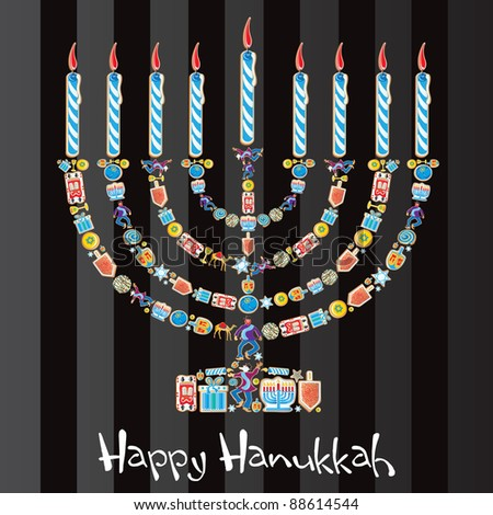 Happy Hanukkah menorah made of cute jewish cookies - stock vector
