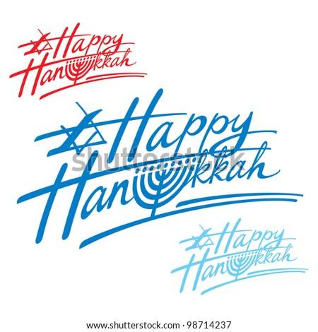 Happy Hanukkah religion Israel holiday menorah judaism - stock vector