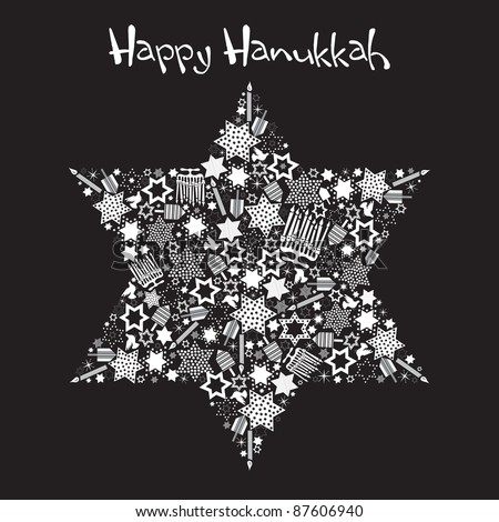 Happy Hanukkah Star of David with star made up of menorahs, dreidels and stars - stock vector