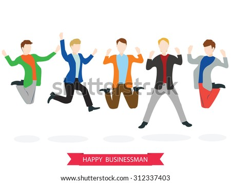 Happy high jumping businessman group. Vector illustration. - stock vector