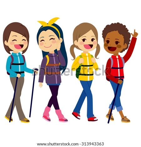 Happy hiking girls friends from diverse ethnicities enjoying climbing mountain - stock vector