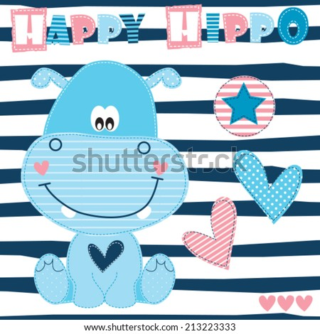happy hippo vector illustration - stock vector