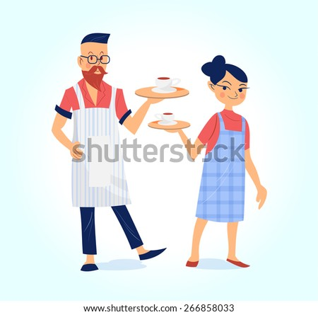 happy hipster male and female barista with coffee vector illustration - stock vector