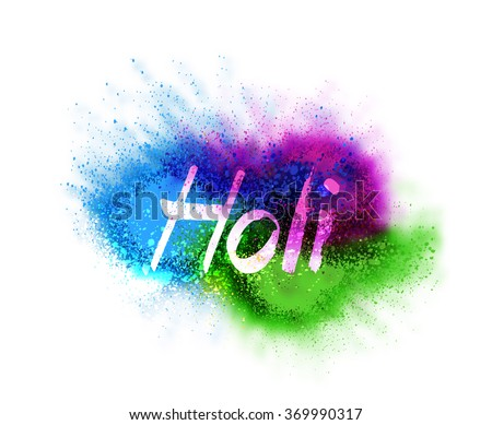 Happy Holi celebrations with particle effect colorful text  - stock vector