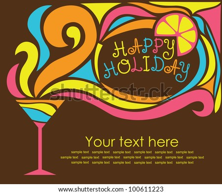 happy holiday card with cocktail. vector illustration - stock vector