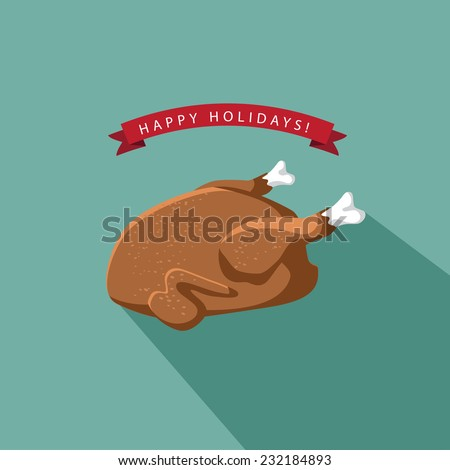 Happy Holidays Cartoon flat cooked turkey  EPS 10 vector illustration - stock vector