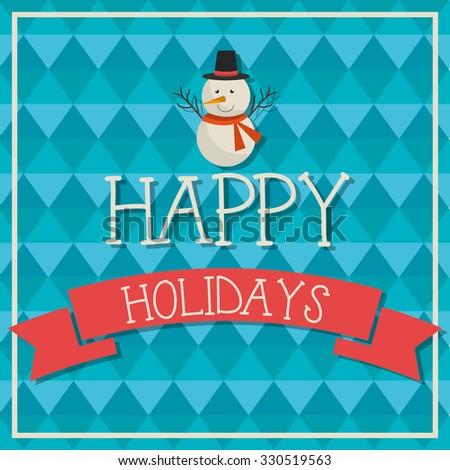 Happy holidays christmas season design, vector graphic. - stock vector