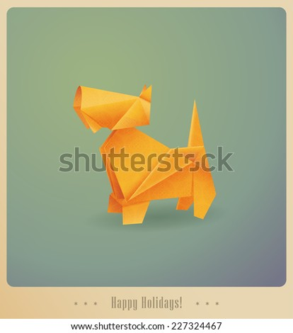 Happy Holidays! Greeting card. Origami dog - present - stock vector