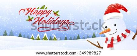 happy holidays, snowman,snowfall, landscape background, vector illustration - stock vector