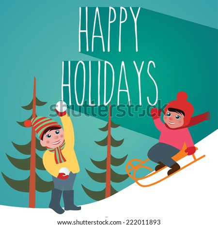Happy Holidays, The Joy of the Snow - stock vector
