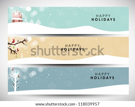 Happy Holidays website  header or banner design with beautiful snowflake design. EPS 10. - stock vector