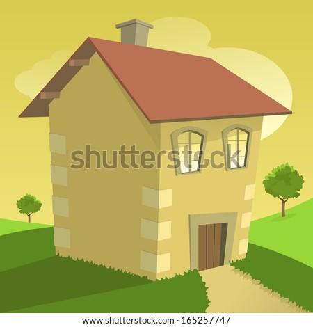 Happy home vector illustration. - stock vector