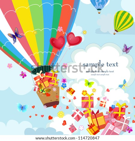 Happy Hot air balloon with gifts and love - stock vector