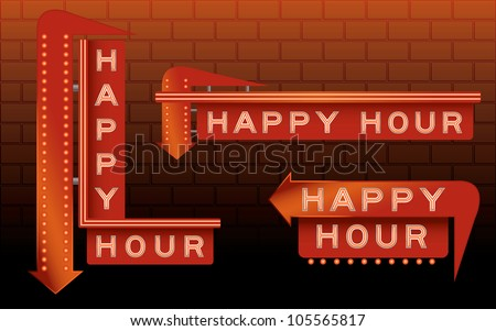 Happy hour bar signs with neon and lights - stock vector