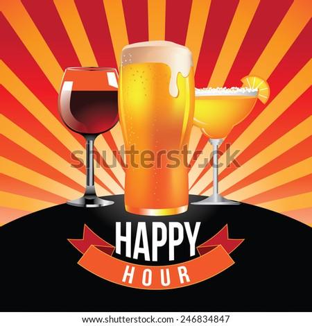 Happy hour burst design EPS 10 vector royalty free stock illustration - stock vector